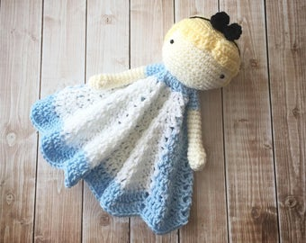 Alice in Wonderland Inspired Lovey/ Security Blanket/ Soft Toy Doll/ Plush Toy/ Stuffed Toy Doll/ Amigurumi Doll/ Baby Doll-  MADE TO ORDER