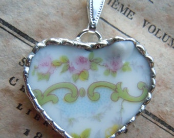 Fiona & The Fig Victorian Era-French Limoges - PINK ROSES - Broken China Soldered Necklace Pendant Charm - Jewelry