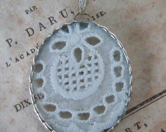 Fiona & The Fig -  Antique Victorian Lace Charm -  Necklace - Pendant - Jewelry