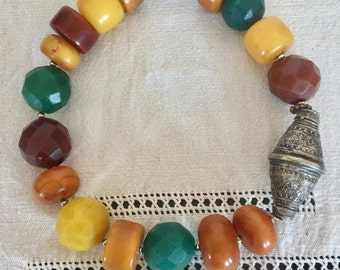 Huge jawbreaker Rare Bohemian beads with amber and genuine Omani silver