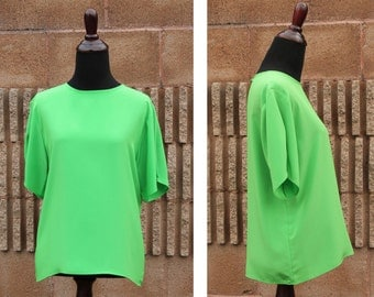 Vintage 80s Lime Green SILKY Feel Jack Mulqueen BOXY Wide Fit Short Sleeve Pearl Button Accent Blouse Top - M Medium