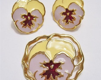Sale Pre Holliday Vintage Avon Pansy Brooch and Earrings, Mint Condition
