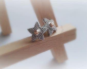 Granulation Sterling Silver Stars - Sterling Silver Stars Piercing - Sterling Silver Metalwork Piercing - Star Piercing - Star Silver Tragus