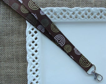 Fabric Lanyard - Swirls on Brown
