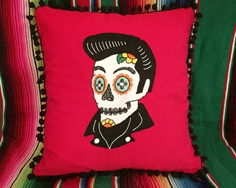 Day of the Dead Elvis Sugar Skull Embroidered Calavera on Red Pillow with Black Pom Pom Fringe