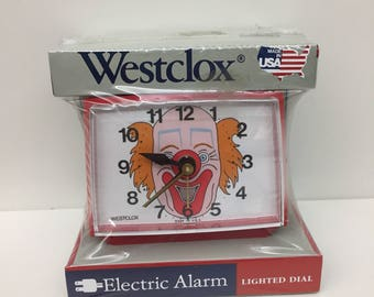vtg westclox clown clock red youth electric clock made in the usa