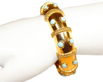 Kenneth Lane Bracelet, Gold and Turquoise Bohemian, Rare, Collectible, Signed K.J.L., Vintage 1960s