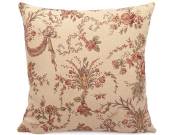 Floral French Provencal Pillow Cover, Shabby Chic Peach French Country Cushion, Relaxed Linen Fabric, Square and Lumbar, New Valance Peach