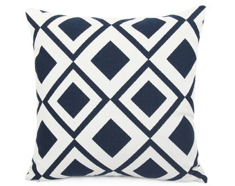 Sunbrella Savvy Indigo Indoor/Outdoor Pillow Cover, Navy Blue And White  Cushion Sham,