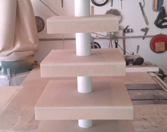 5 Tier Square Custom Made Unfinished Cupcake Stand with Boxed Tiers.  Holds up to 108 Cupcakes.