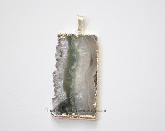 Natural Amethyst Stalactite Slice Pendant Dipped in Sterling Silver, 43x22mm
