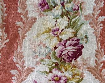 Nostalgic Victoriana Cottage VTG Old Stock Barkcloth Pillow Fabric Art Deco 30s Wicker Rattan Bamboo Cushions Do it YOURSELFER! Retro MCM