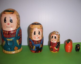 Hand painted Scarecrow Family stacking nesting doll set
