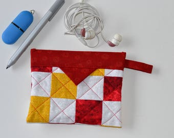 Cosmetic Pouch, Patchwork Quilted Jewellery Bag, Cotton Snap Pouch, Fabric bag, red yellow