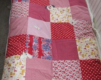 Animal Quilt/Maynard's Mousetrap/Horses/Red Yellow Quilt/Bedding/Baby Blanket/Crib Bedding/Baby Shower/Red stripes/Red Polka dot/Cats/Dogs