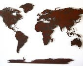 """World Map Metal wall art - 80"""" wide X 48"""" tall - 7 separate pieces - shown in the Rust Patina - Choose you color :)"""