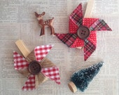 Rustic Plaid Pinwheel Clips Set of 2 Gift Toppers Desk Accessories Christmas Wrapping