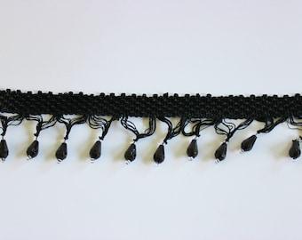 Black Teardrop Fringe Trim 2 Inch Beaded Trim / Sewing / Home Decor / Halloween / Embellishments