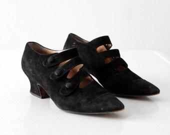Ombeline Paris black suede pumps size 6.5, vintage Maud Frizon 3 strap shoes