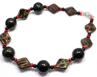 Red and Black Chunky Necklace, Texas Tech, Red Raiders, Beaded Necklace, Chunky Necklace