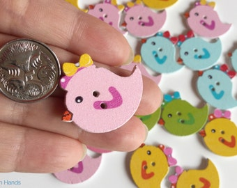 10 pcs Small bird shaped buttons for scrapbooking or knits