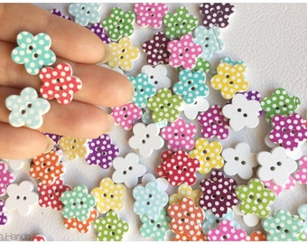 10 pcs Polka dots printed flower shaped buttons for scrapbooking or knits