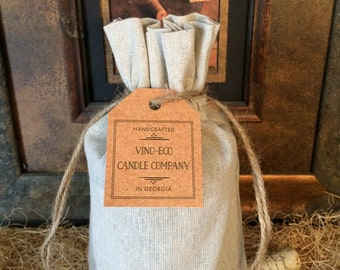 LINEN GIFT BAG for Medium size Recycled Wine Bottle Candle