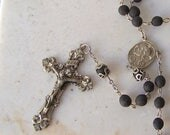 Vintage Sterling Rosary Ebony Wood Beads Religious Silver Necklace Catholic Jewelry Spirituality 1960s