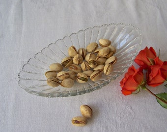 Vintage Candy Dish Nut Dish Beaded Glass Oval Dish Mid Century Modern 1950s