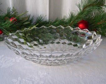 Vintage Fostoria American Glass Cube Pattern Fruit Bowl Salad Bowl Mid Century 1950s