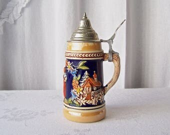 Vintage Beer Stein Made in Germany Lusterware Trim Finish Pictorial Country Cottage Germany Man Cave Bar Pool Room Gift For Dad 1980s