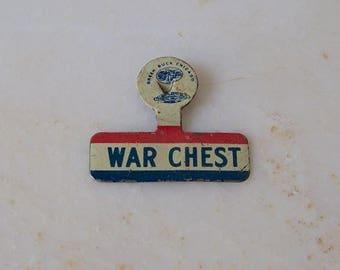 Vintage War Pin World War II War Chest Lapel Pin Green Duck Chicago Pinch Back Pin Trade Council Patriotic USA Pride Vintage 1940s