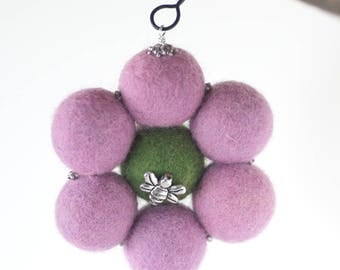 Essential Oil Car Diffuser, Felted Balls,Aromatherapy Diffuser,Freshen Enhanced Vehicle,Diffuser with Clip,Bees,100% Wool,Handmade in USA