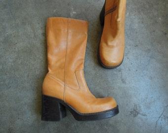 Vtg Butternut Leather Platform Boots Nine West Caramel Leather Zip Half Boots Womens Size 7.5 M 1990's