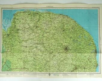 Norfolk Map. Vintage Map of Norfolk, England.  English map. Bartholomew's Map, Large Map.
