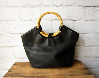 Vintage Fossil Bag - Black Leather Purse with Bamboo Handle