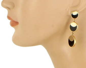 Vintage Gorgeous Mod 14K Mid Century Onyx Drop Dangle Earrings 2""