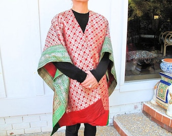 """Silk Brocade Cape by the Old Silk Route-42""""x 60""""inches"""