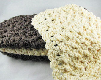 Crochet Dishcloths - 4 Cloths in Dark Brown and Cream