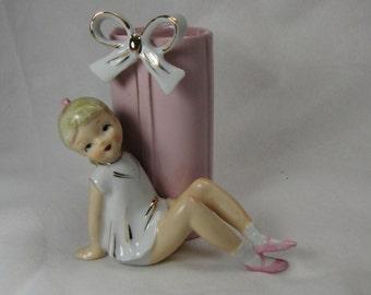 Vintage Pink Teen Girl Flower Vase