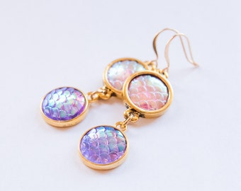 Mermaid Scale Earrings, Pink and Gold Earrings, Mermaid Earrings, Fantasy Earrings, Gift for Her