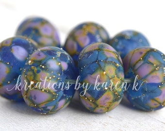lamp work beads...SRA handmade blue & lavender lampwork beads, soft colors, beads set of (7) for making jewelry 11117-14