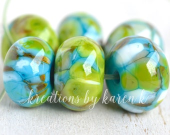lamp work beads...SRA handmade, aqua & lime shades of lampwork beads, soft colors, beads set of (6) for making jewelry 12417-4