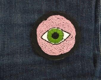 Handmade Patch Eyeball Patch Flower Eye Art Sew On Eye Patch for Jeanjacket
