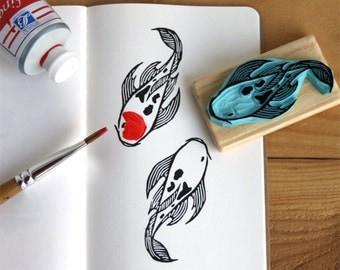 Koi carp stamp, hand carved, wood mounted, nishikigoi