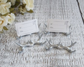 Antlers Place Card Holders, Wedding place card holders, Rustic wedding place card holders, Silver deer antlers, Set of 6 Place card holders