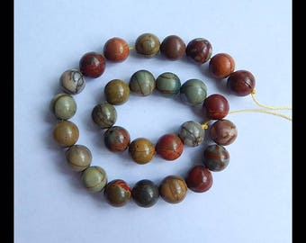 Multi-Color Picasso Jasper Gemstone Loose Bead,1Strand,27.5cm In the Lenght,10x10mm,37.7g(d0181)