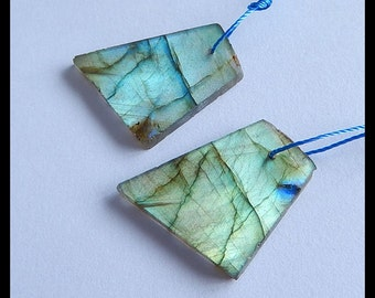 Nugget Labradorite Gemstone Earring Bead,29x20x3mm,5.5g