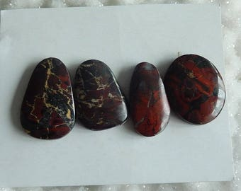4 PCS Cheap  African Red Stone Gemstone Cabochon,11.45g