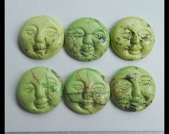 6 PCS Carved Serpentine Smiling Face Cabochon,17x5mm,13.51g